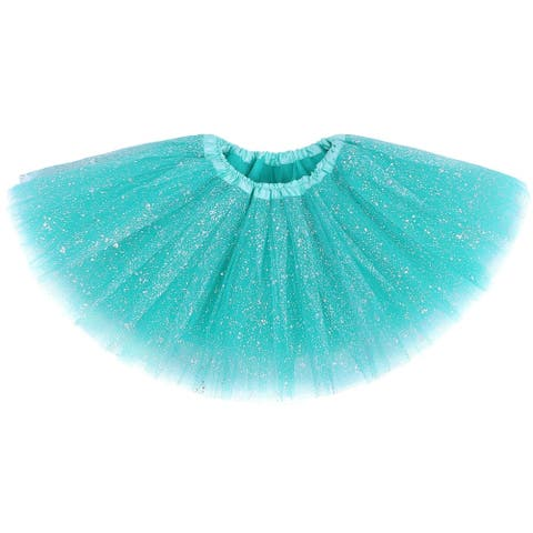 AshopZ Girls' Vintage Glitter Layered Dress-Up Tulle Tutu Skirt with Sequins