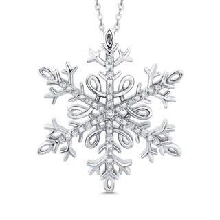 Sterling Silver 1/10ct TDW Diamond Snow Flake Pendant (J-K, I1-I2)