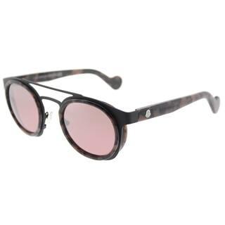 c8588bb37f93 Moncler Round ML 0022 55U Unisex Cloured Havana Frame Bordeaux Mirror Lens  Sunglasses