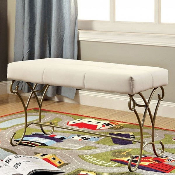 Enchant Transitional Bench, White and Champagne