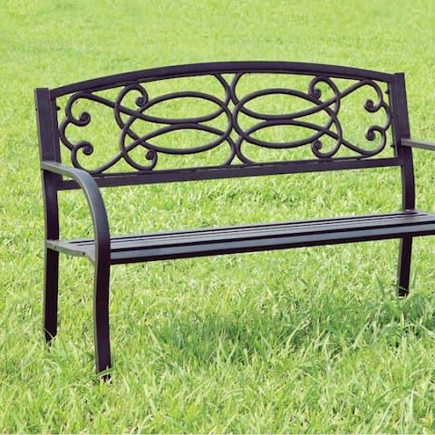 Potter Armrests Patio Bench, Black