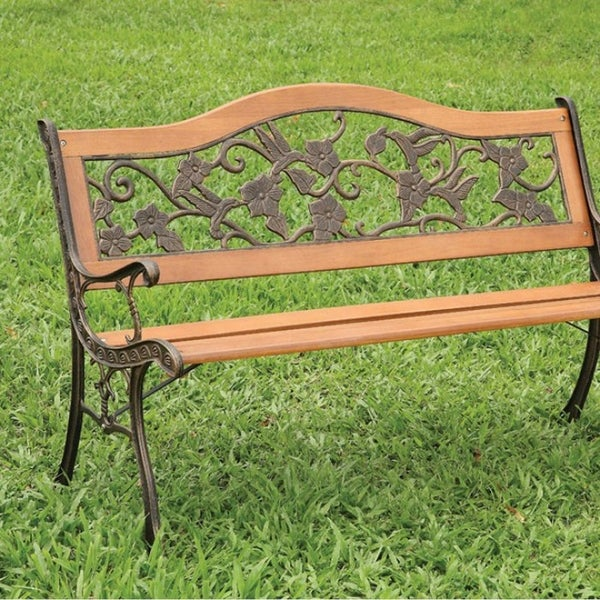 Alba Transitional Park Bench, Antique Oak Finish