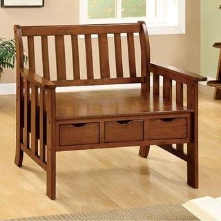 Benzara Pine Crest 3-drawer Bench