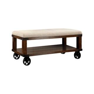 Benzara Broadus IV Industrial Design Light Oak Bench