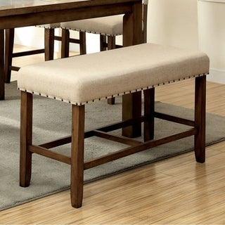 Benzara Melston II Ivory Flax Fabric Natural Tone Counter Height Bench