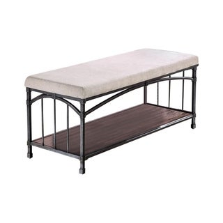 Benzara Itzel Industrial Design Dark-oak-finished Metal and Wood Bench With Cream Faux-linen Fabric Upholstery