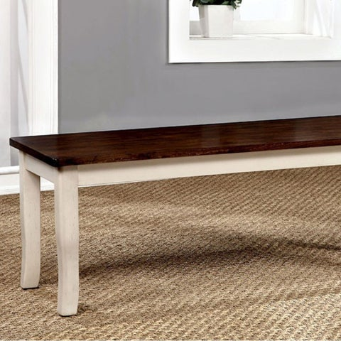 Dover Transitional Bench Withwooden Seat, Cherry & Whitek Finish
