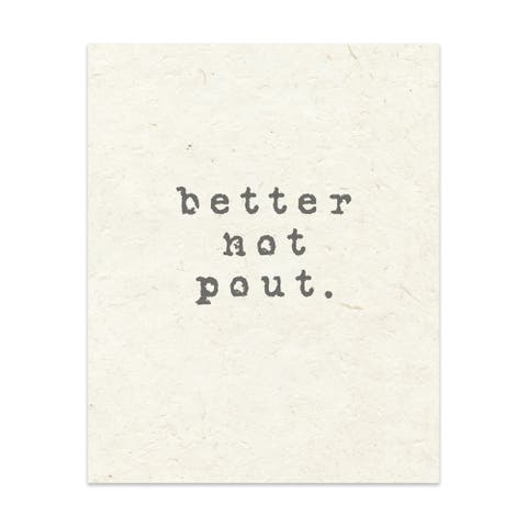 BETTER NOT POUT Handmade Paper Print by Kavka Designs