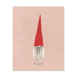 MERRY CHRISTMAS GNOME ELF Handmade Paper Print By Terri Ellis