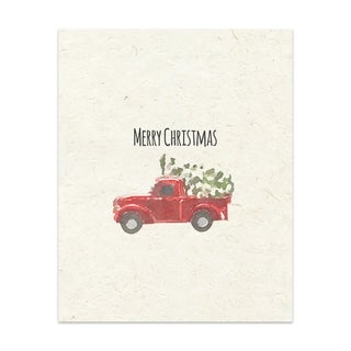 Kavka Designs Christmas Truck Handmade Paper Print By Terri Ellis