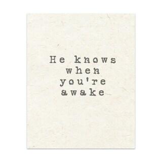 Kavka Designs He Knows When You're Awake Handmade Paper Print By Terri Ellis