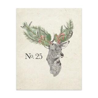 CHRISTMAS DEER Handmade Paper Print By Terri Ellis