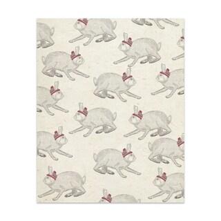 Kavka Designs Christmas Bunnies Handmade Paper Print By Terri Ellis