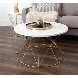 Kate and Laurel Mendel Round Metal Coffee Table