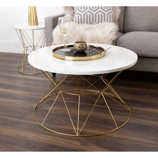 Kate and Laurel Mendel Rose-gold-finished Metal Round Coffee Table With Gloss-finished Wood Top