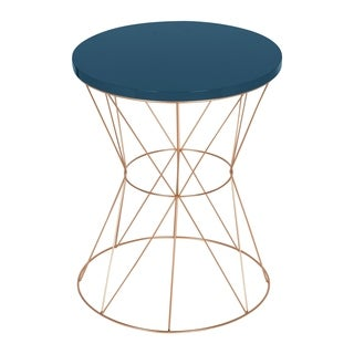 Kate and Laurel Mendel Round Metal and Gloss-finish Wood Top End Table