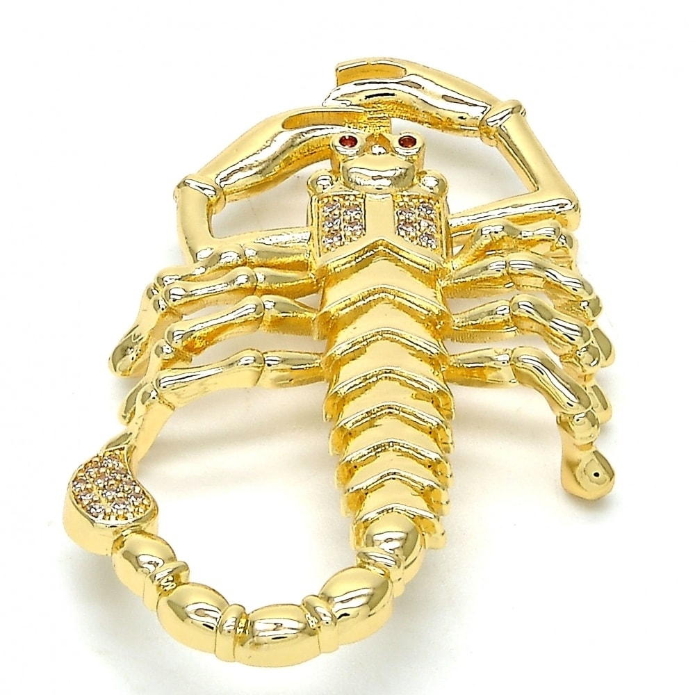 Fancy Pendant Scorpion Design with White and Garnet Micro...