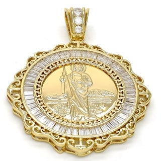 Religious Pendant San Judas and Greek Key Design with White Cubic Zirconia 18kt.Plated 106875
