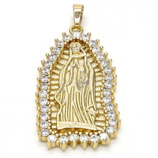 Religious Pendant Guadalupe Design with White Cubic Zirconia 18kt.Plated 105985