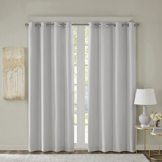 SunSmart Alma Jacquard Solid Room Darkening Grommet Curtain Panel