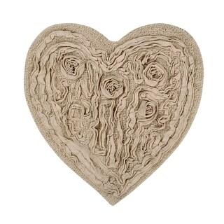 "Bellflower 25""X25"" Beige Heart shaped Bath Rug"