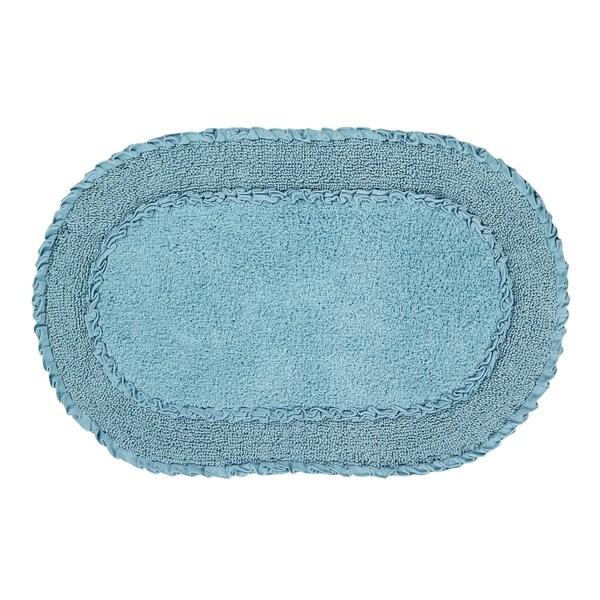 Shop Double Ruffle 24 Quot X40 Quot Blue Bath Rug Free Shipping