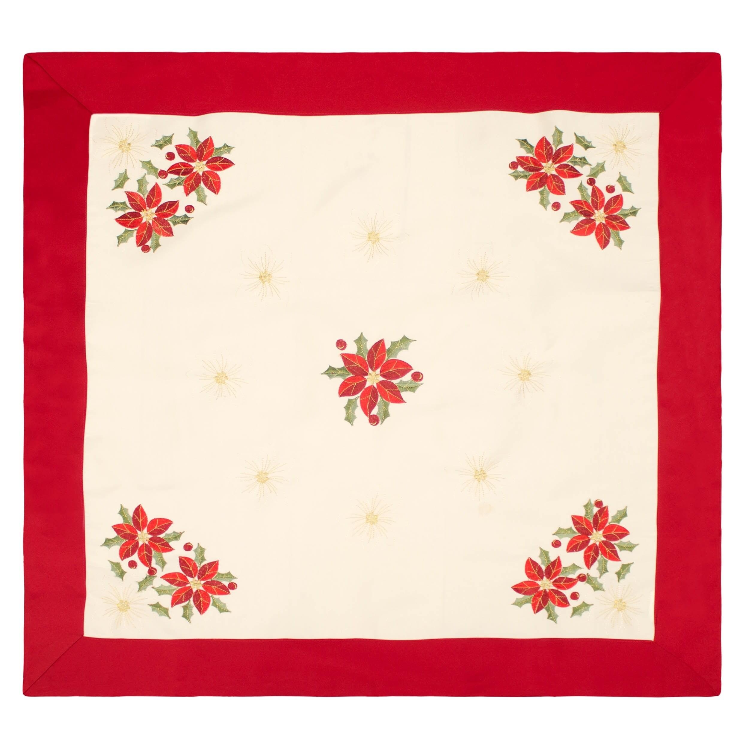 Creative Home Ideas Holiday Poinsettia Embroidered Square...