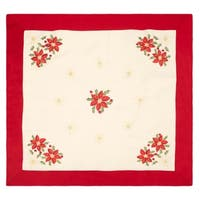 Holiday Poinsettia Embroidered Square 36 x 36 in. Table Topper