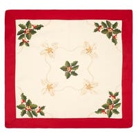 Holiday Holly Berries Embroidered Square 36 x 36 in. Table Topper