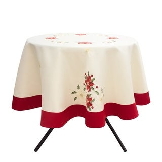 Holiday Embroidered Round 70 in. Tablecloth