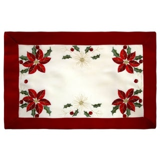 Holiday Embroidered Poinsettia 13 x 19 in. Cloth Placemats, Set of 4