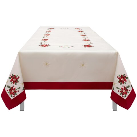Holiday Embroidered Rectangular 70 x 120 in. Tablecloth