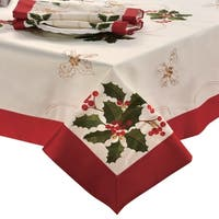 Holiday Embroidered Rectangular 70 x 104 in. Tablecloth
