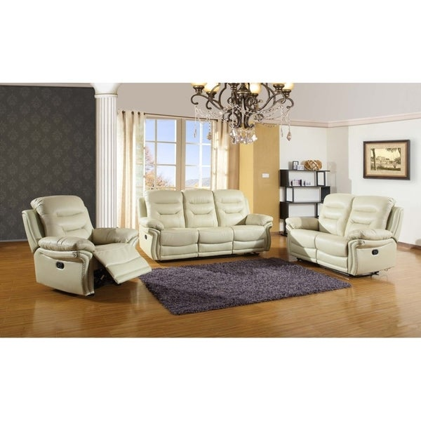 Shop leather air match upholstered 3 piece living room recliner sets free shipping today for Matching living room furniture sets