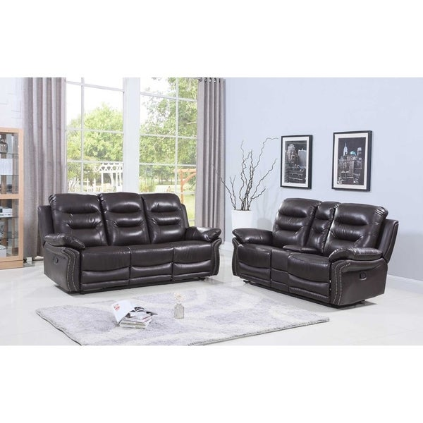 shop leather air match upholstered 2 piece living room recliner sets with console on sale. Black Bedroom Furniture Sets. Home Design Ideas