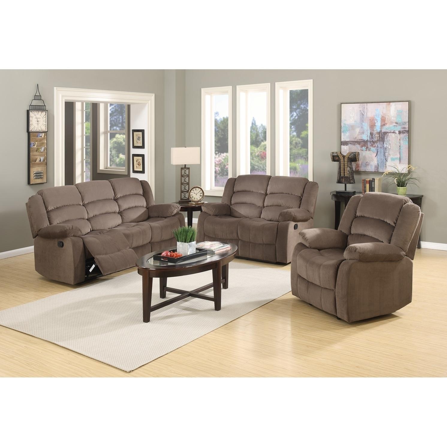 Osbourne Microfiber Fabric Upholstered 3 Piece Living Room Recliner Sets