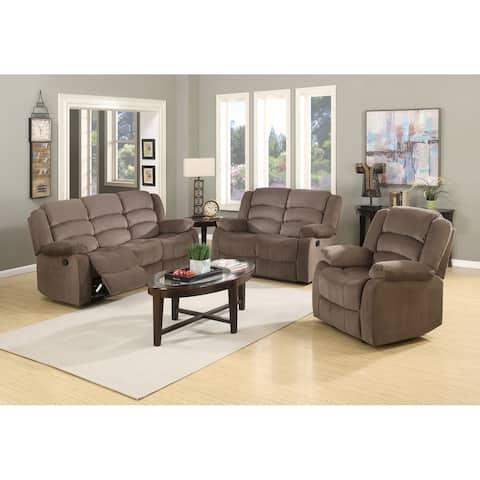 Osbourne Microfiber Fabric Upholstered 3-Piece Living Room Recliner Sets