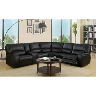 Leather Air/Match Upholstered Power Sectional With Recliner