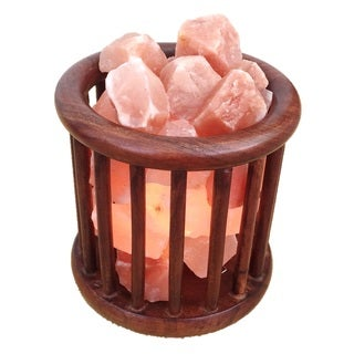 Zennery RoseWood Cage Basket Himalayan Salt Lamp