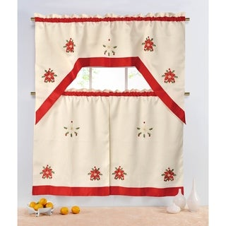 Holiday Poinsettia Embroidered Sheer 3-Piece Kitchen Tier Set - 60 x 72