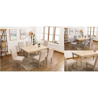 Dara's Country-styled Button Tufted Upholstered Solid Wood 7-piece Dining Set
