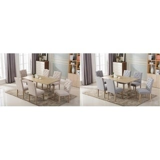 Dara's Antique Pedestal Base 7-piece Dining Set with Button Tufted Upholstered Dining Chairs