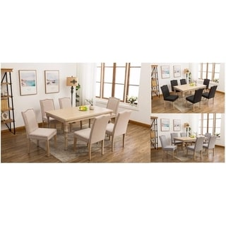 Dara's Country-styled Upholstered Carved Wooden 7-piece Dining Set