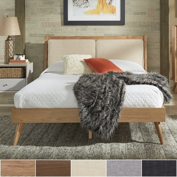Sylvia Queen Size Mid-Century Dual Panel Linen and Wood Bed by iNSPIRE Q Modern