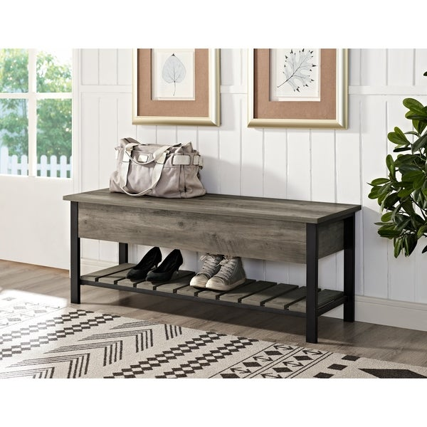 48 Inch Open Top Storage Bench With Shoe Shelf   Free Shipping Today    Overstock.com   23980367