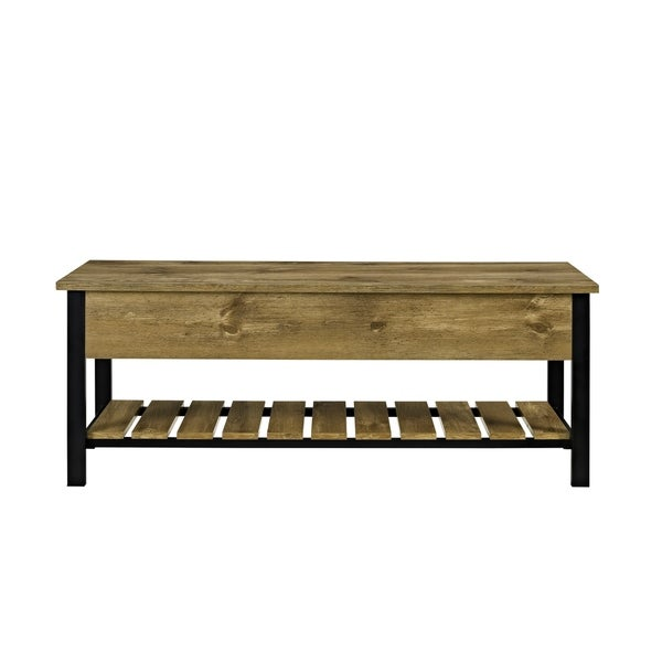 Lovely 48 Inch Open Top Storage Bench With Shoe Shelf   Free Shipping Today    Overstock.com   23980367