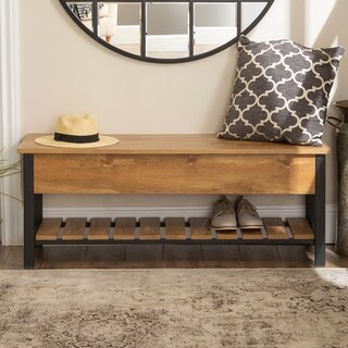 48-inch Lift-Top Storage Bench with Shoe Shelf