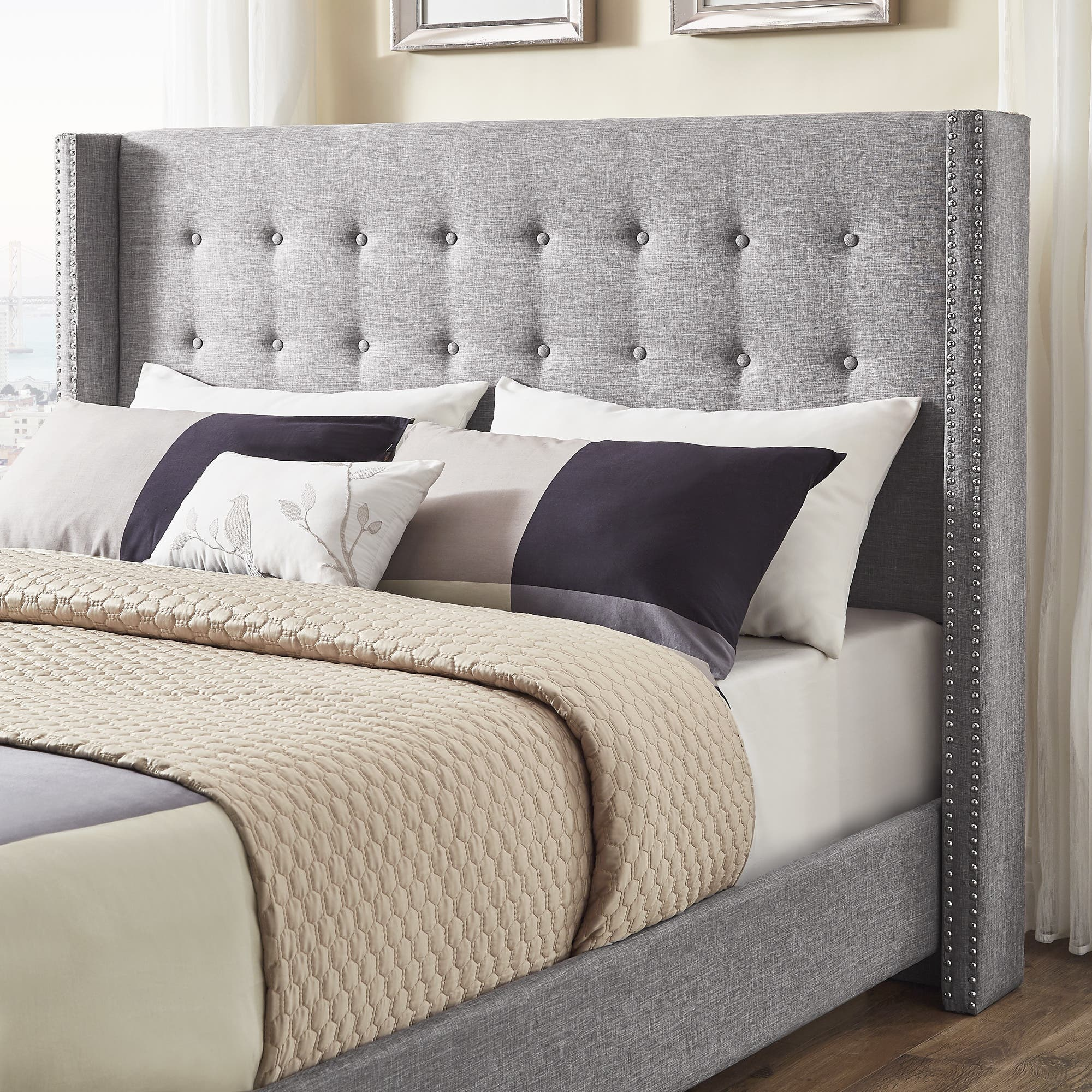 Melina Tufted Grey Linen Wingback Bed by iNSPIRE Q Bold