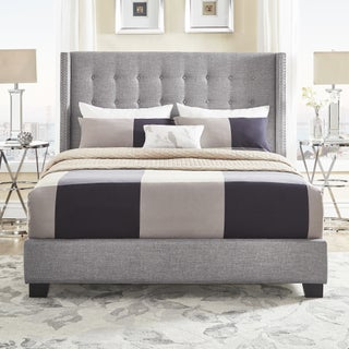 Melina Tufted Grey Linen Wingback Bed by iNSPIRE Q Bold (3 options available)