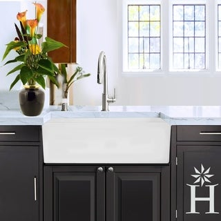 Highpoint Collection White Acrylic/Stone 30-inch Solid Surface Reversible Farmhouse Sink